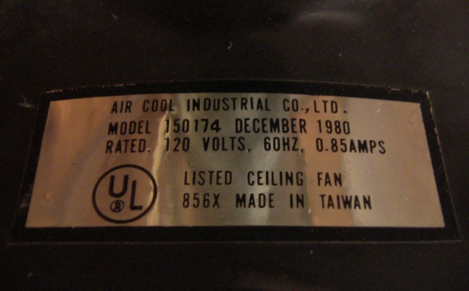 Air Cool Industrial Co Ltd Ceiling Fan Model 150174