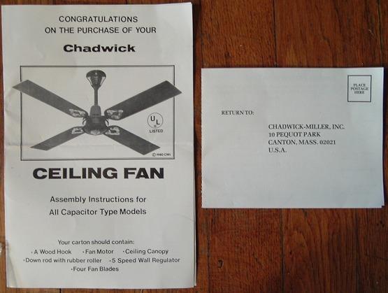 Chadwick Ceiling Fan 48 Ins Model From 1980