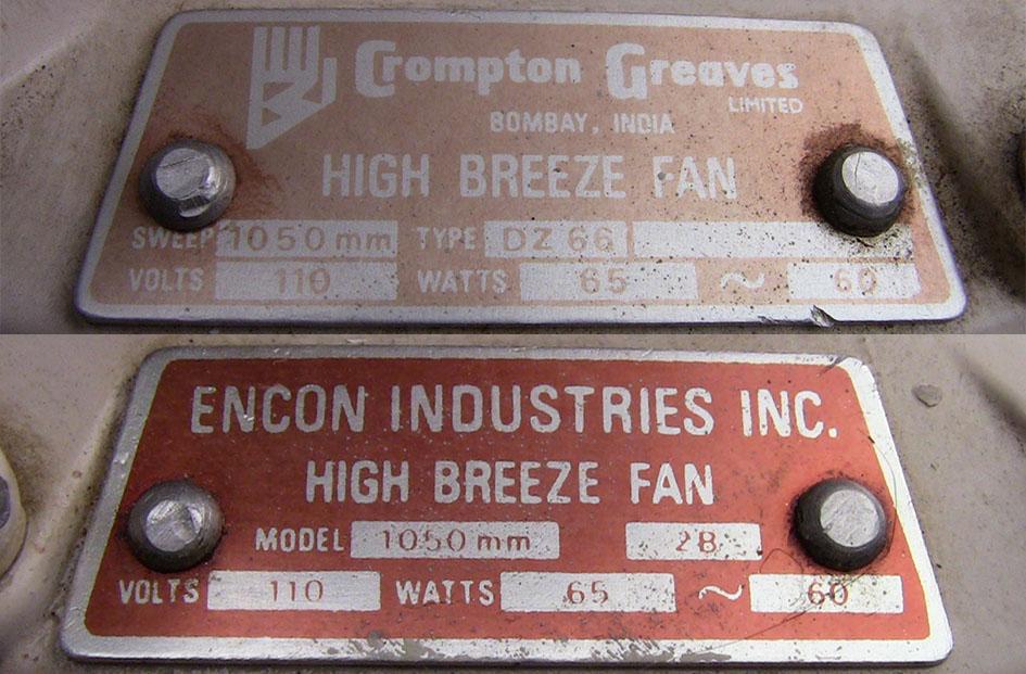 Encon Crompton Greaves High Breeze Ceiling Fan Model