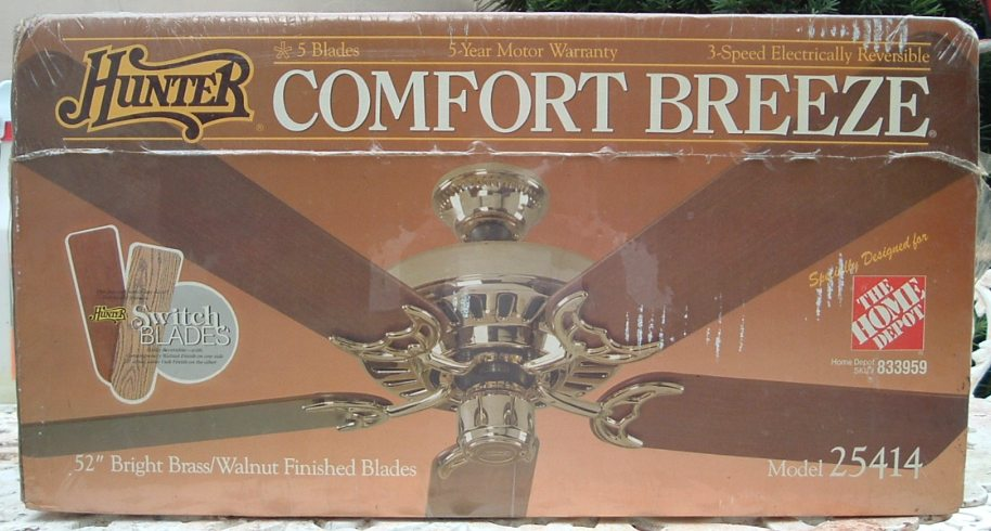 Hunter Five Blade Comfort Breeze Ceiling Fan Model 25414