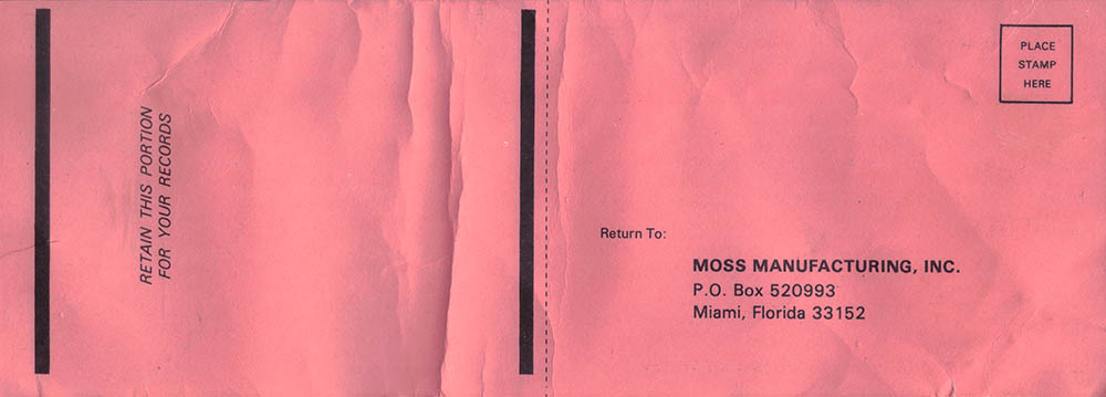 Moss Caribbean Breeze Warrenty Card